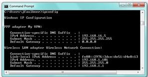 Check the VPN status by IPCONFIG